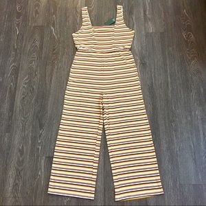 NWT Wild Fable yellow striped square neck jumpsuit